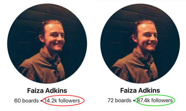 Pinterest followers growth before and after - Faiza