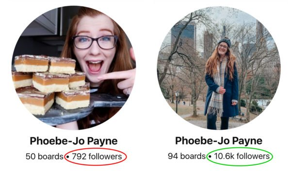Pinterest followers growth before and after - Phoeve-Jo