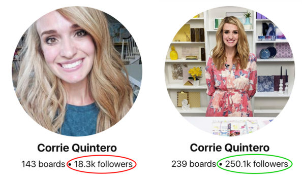 Pinterest followers growth before and after - Corrie