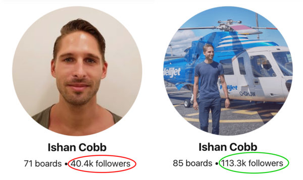 Pinterest followers growth before and after - Ishan