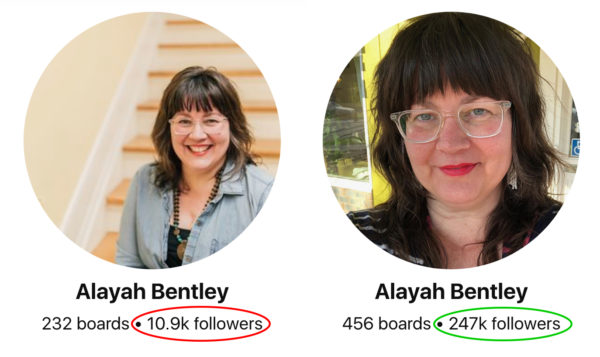 Pinterest followers growth before and after - Alayah
