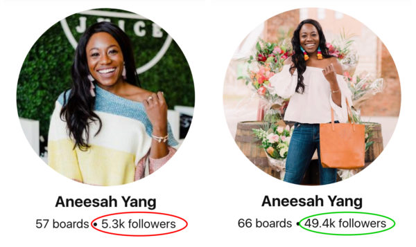 Pinterest followers growth before and after - Aneesah