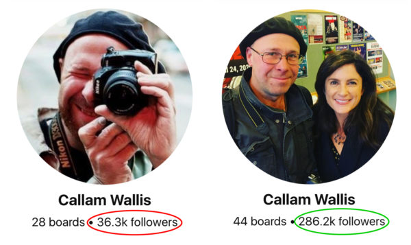 Pinterest followers growth before and after - Callam