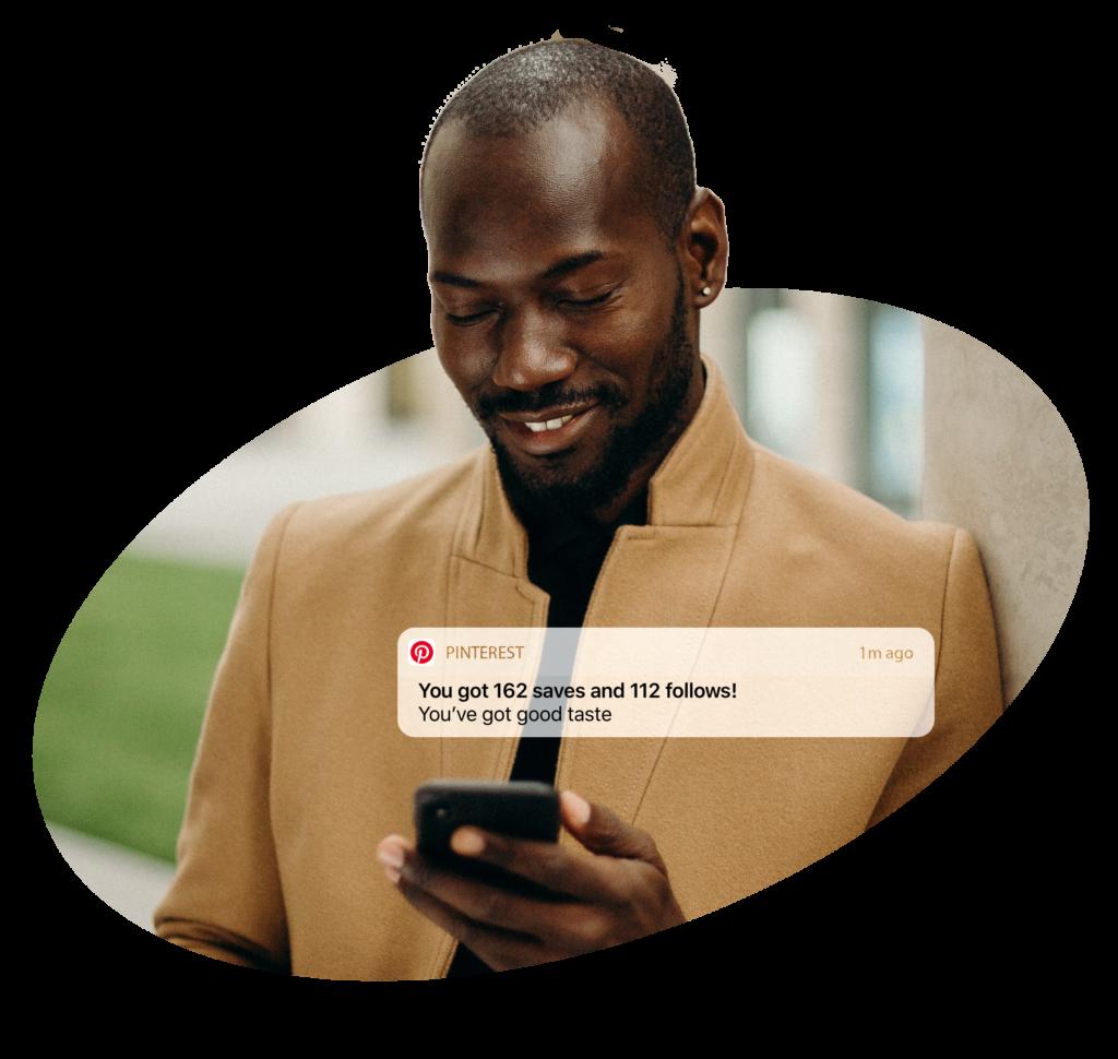 Pinterest man - notification about new pinterest followers