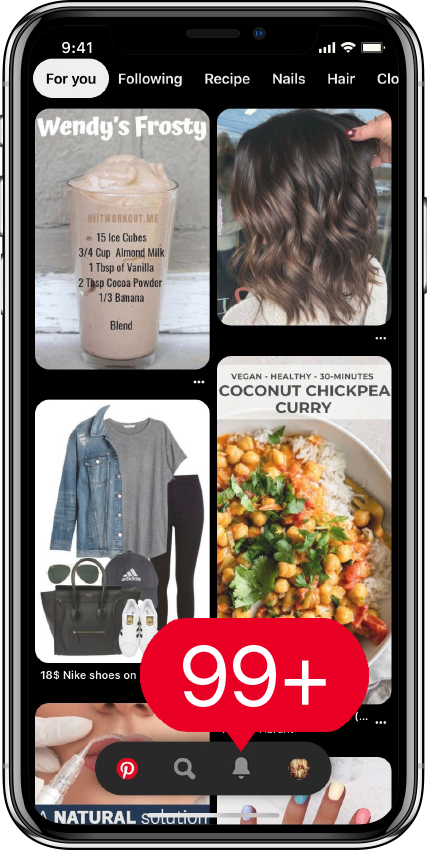 Pinterest mobile application - new notifications and pinterest followers